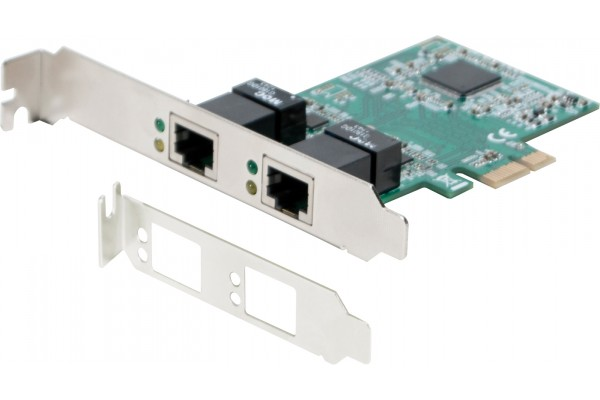 M310541-DEXLAN CARTE PCIe 1x DOUBLE PORT RJ-45 GIGABIT + Low Profile